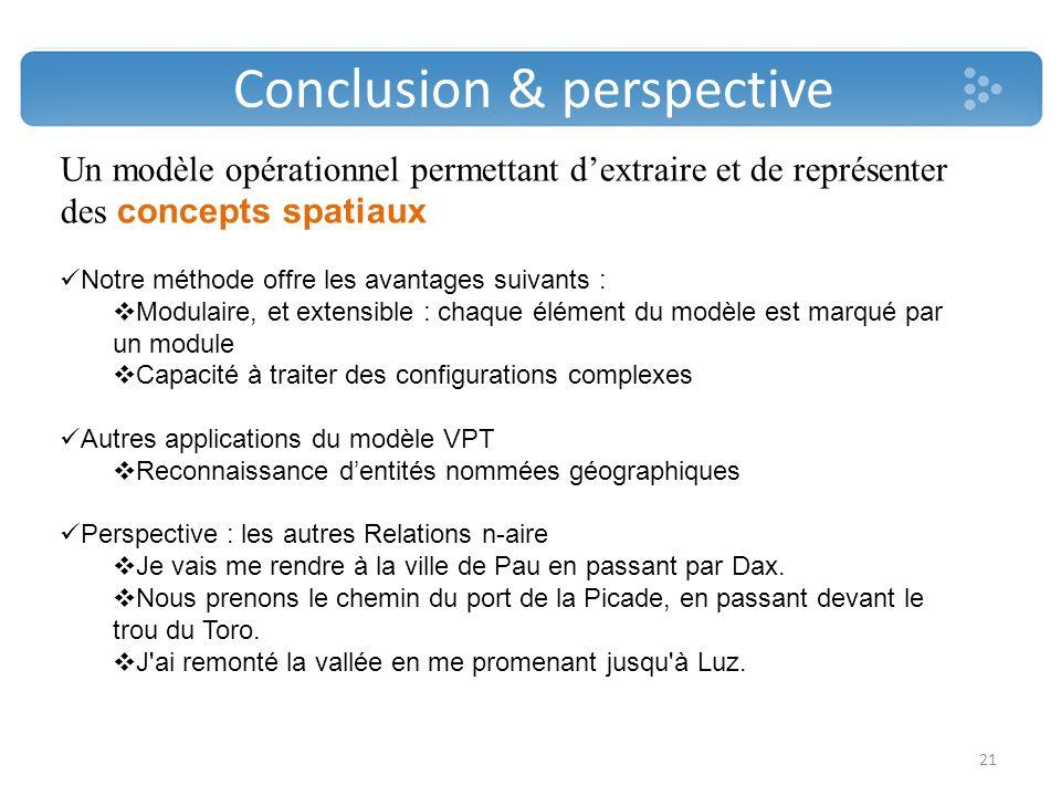 Conclusion & perspective 21 Un modèle opérationnel permettant dextraire et de représenter des concepts spatiaux Notre méthode offre les avantages suiv