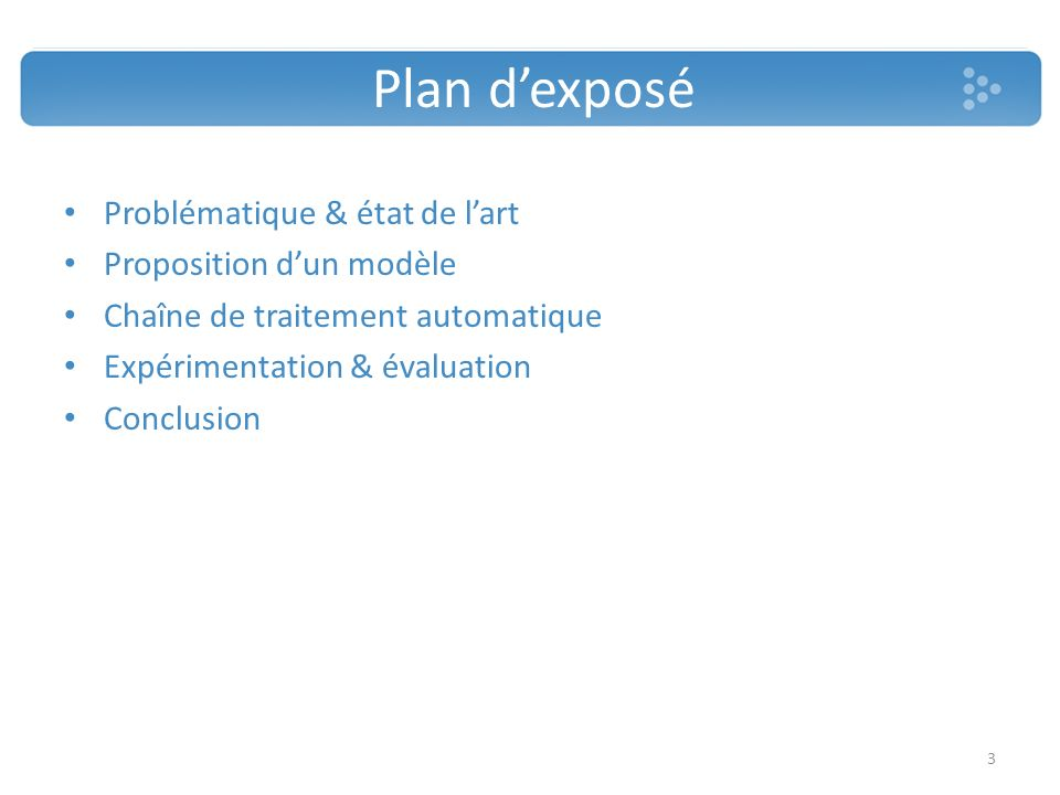 Plan dexposé Problématique & état de lart Proposition dun modèle Chaîne de traitement automatique Expérimentation & évaluation Conclusion 3