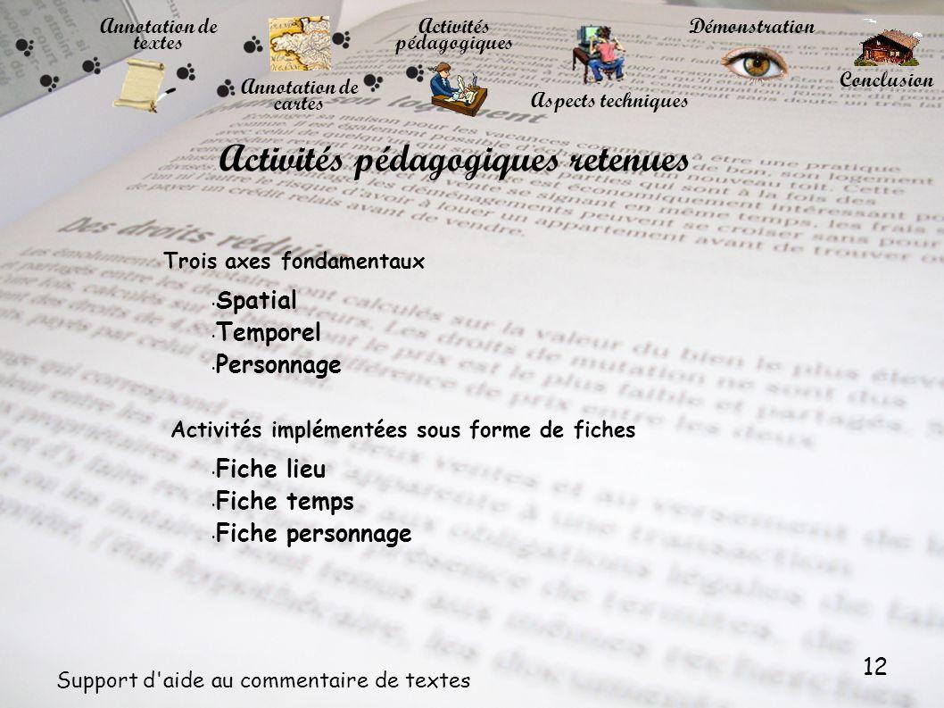 12 Support d'aide au commentaire de textes Annotation de cartes Annotation de textes Trois axes fondamentaux Activités pédagogiques Démonstration Conc