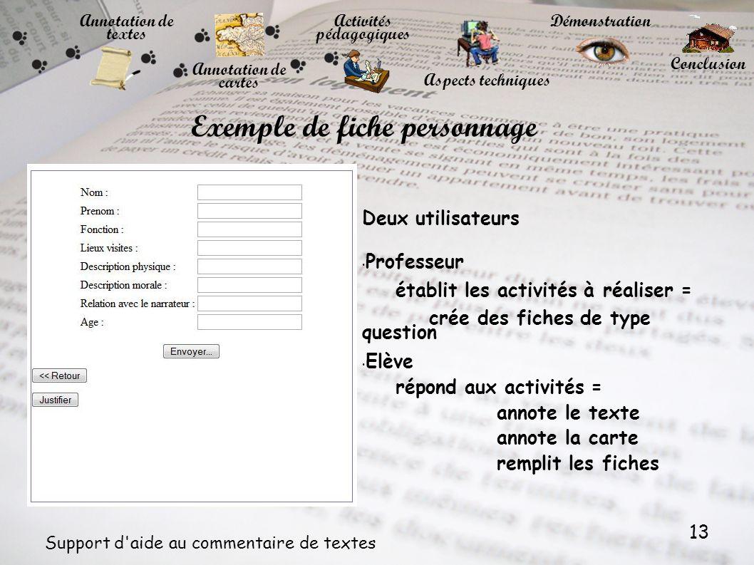 13 Support d'aide au commentaire de textes Annotation de cartes Annotation de textes Activités pédagogiques Démonstration Conclusion Aspects technique