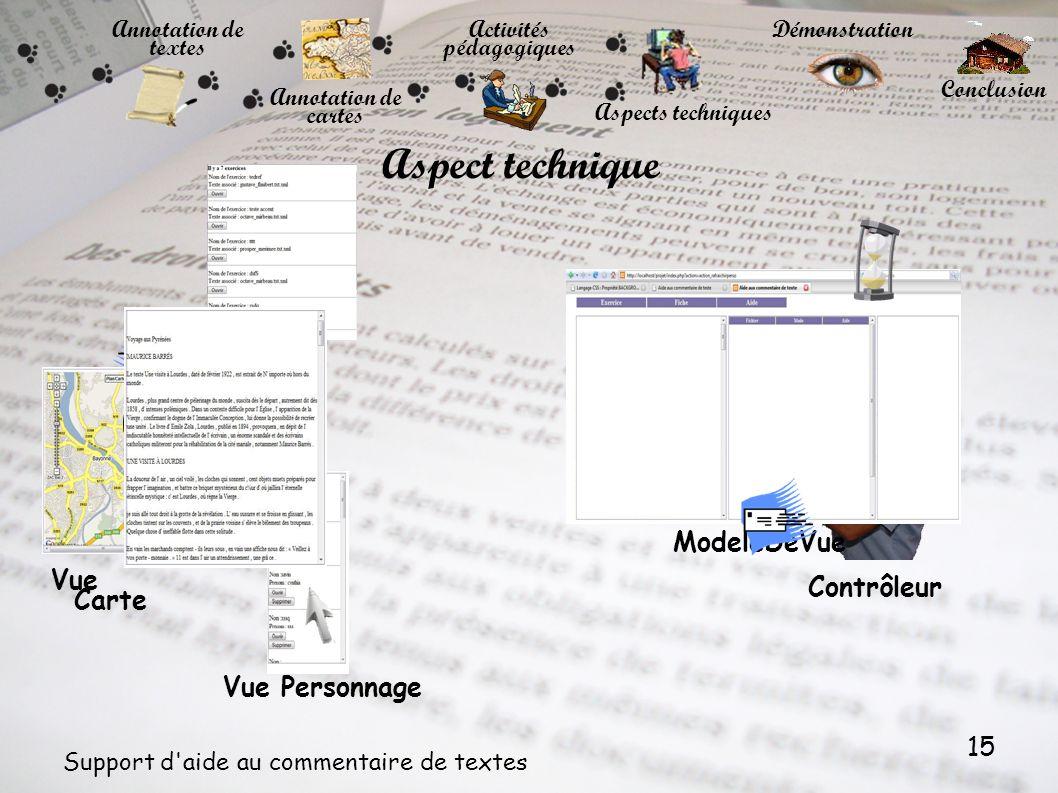 15 Support d'aide au commentaire de textes Aspect technique Vue Texte Vue Carte Vue Personnage ModeleDeVue Contrôleur Annotation de textes Annotation