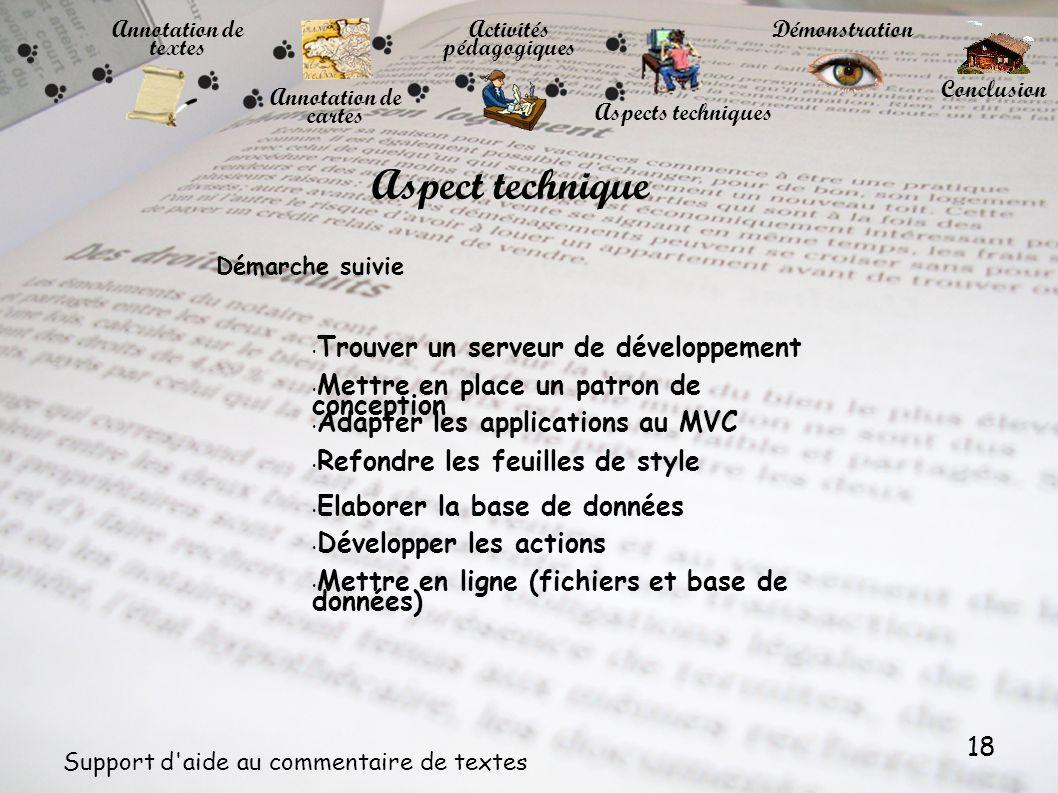 18 Support d'aide au commentaire de textes Annotation de textes Annotation de cartes Activités pédagogiques Démonstration Conclusion Aspects technique