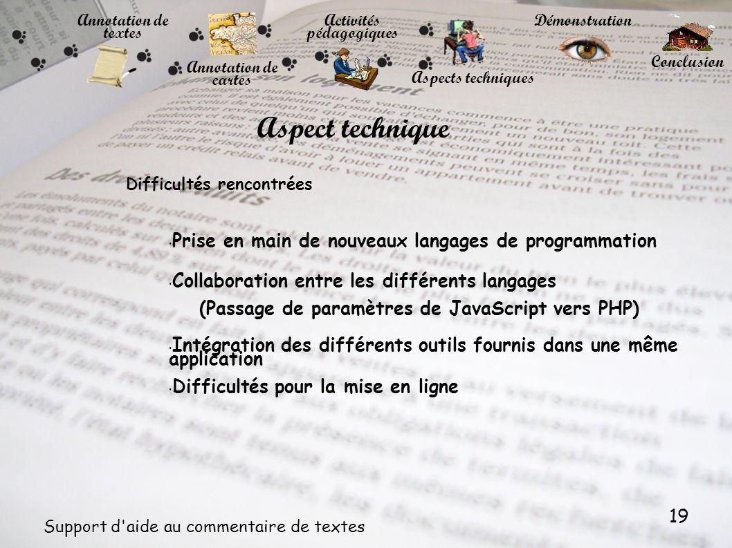 19 Support d'aide au commentaire de textes Annotation de textes Annotation de cartes Activités pédagogiques Démonstration Conclusion Aspects technique