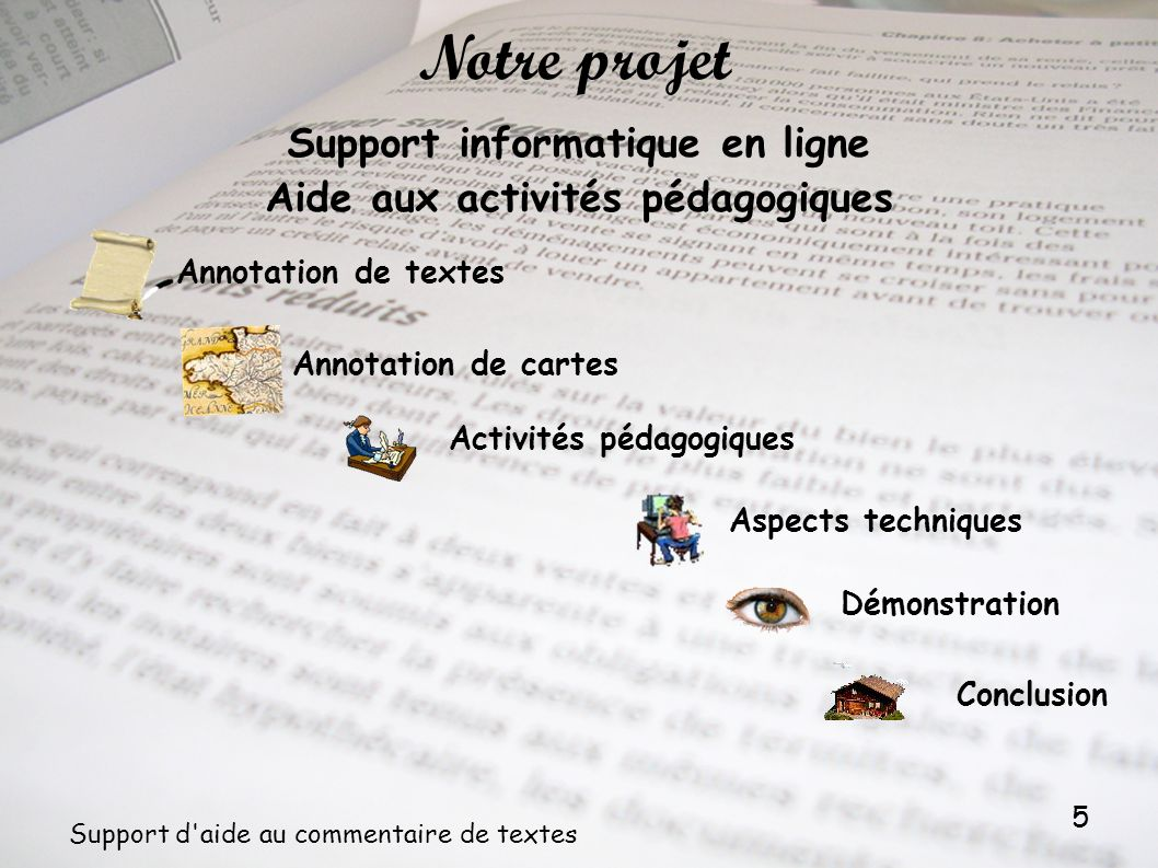 5 Support d'aide au commentaire de textes Support informatique en ligne Aide aux activités pédagogiques Annotation de cartes Activités pédagogiques No