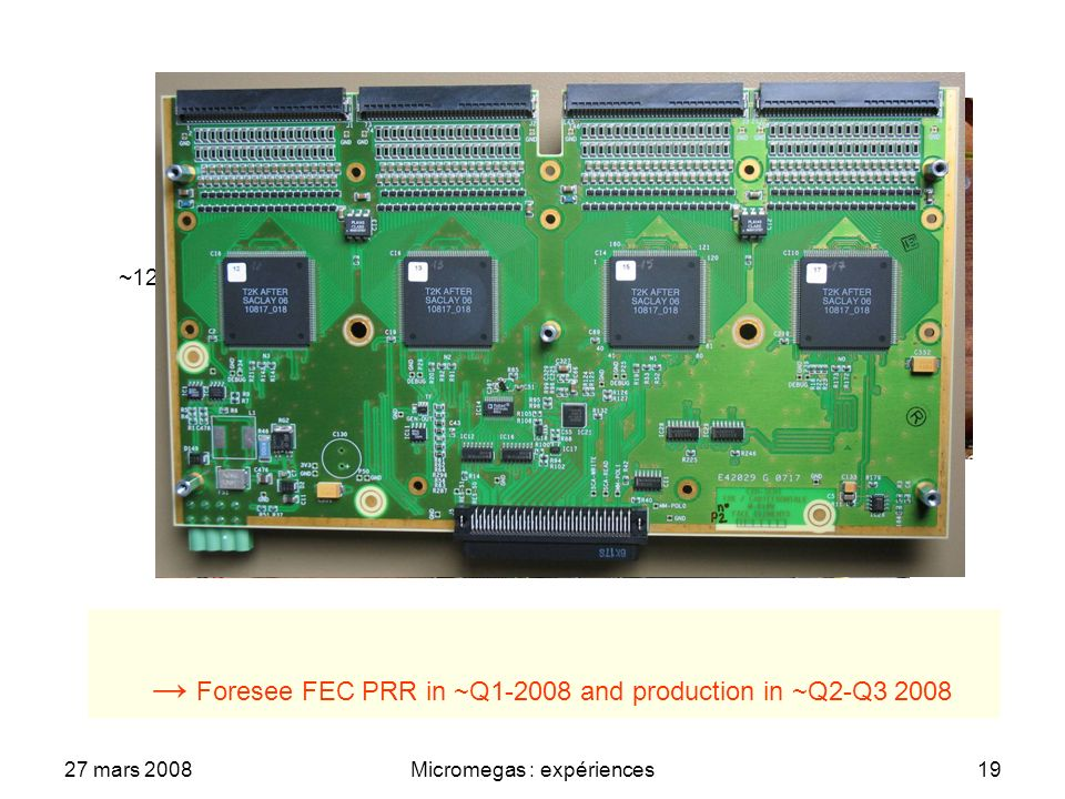 27 mars 2008Micromegas : expériences19 ASIC 4 channel ADC Passive Components Connectors to detector plane 288 channel FE card Digital output ~25 cm ~12 cm Foresee FEC PRR in ~Q1-2008 and production in ~Q2-Q3 2008