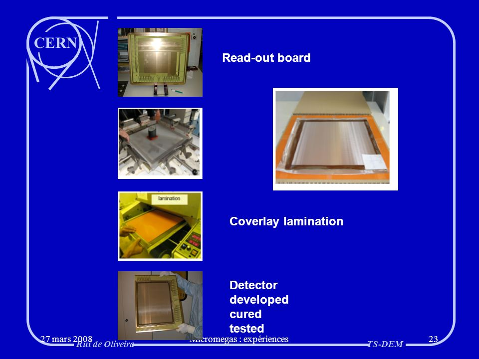 CERN Rui de OliveiraTS-DEM 27 mars 2008Micromegas : expériences23 Coverlay lamination Read-out board Detector developed cured tested