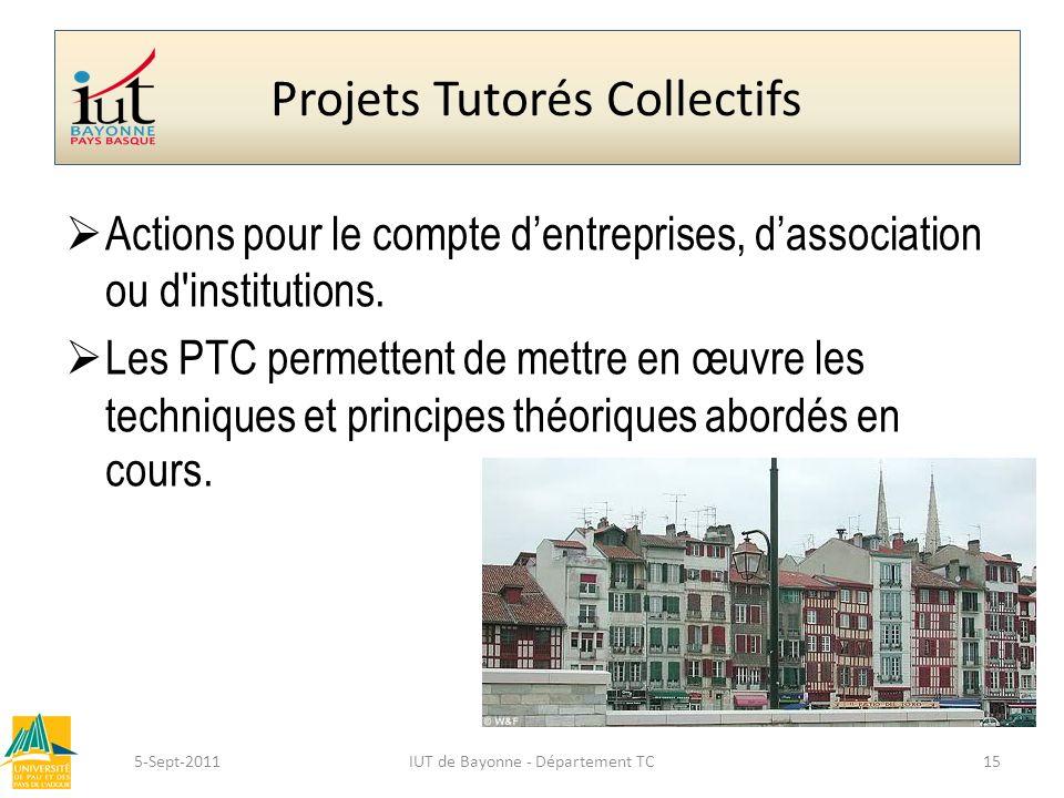 Projets Tutorés Collectifs Actions pour le compte dentreprises, dassociation ou d'institutions. Les PTC permettent de mettre en œuvre les techniques e