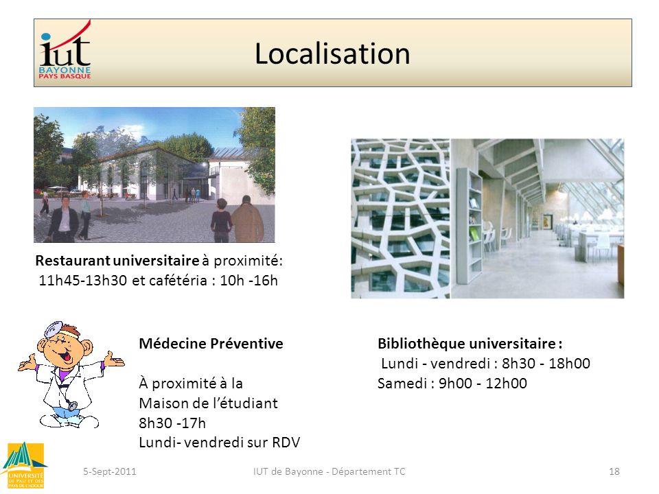 Localisation 5-Sept-2011IUT de Bayonne - Département TC18 Restaurant universitaire à proximité: 11h45-13h30 et cafétéria : 10h -16h Bibliothèque unive