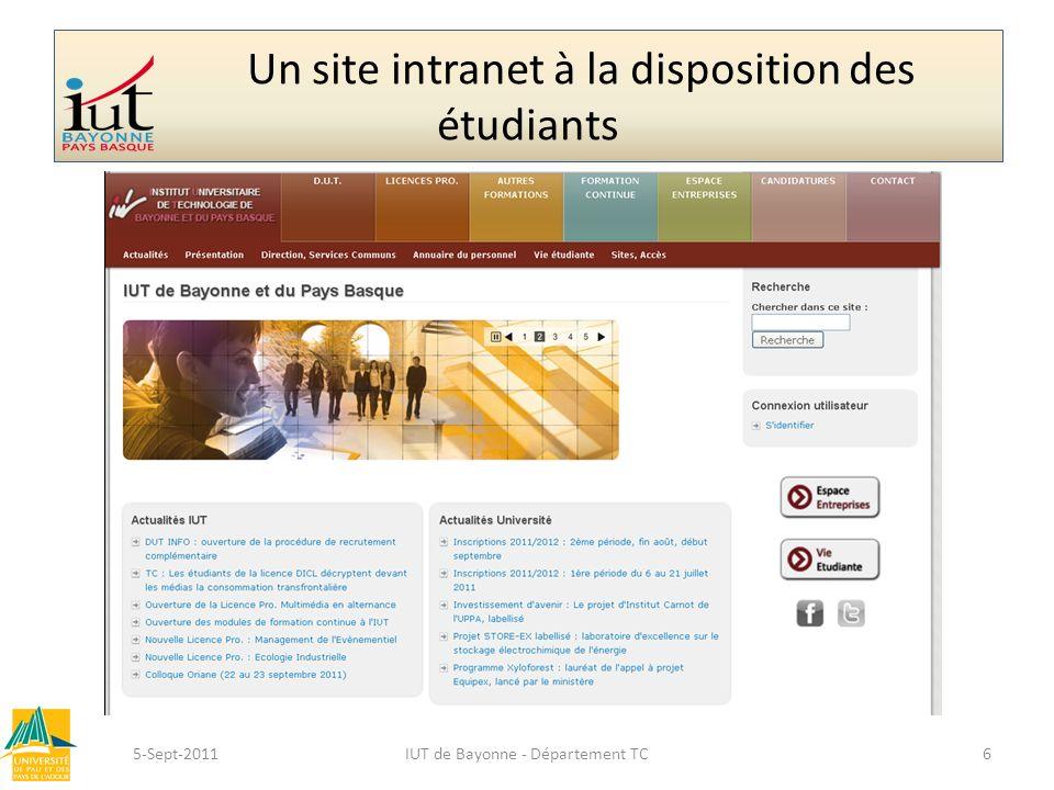 Un site intranet à la disposition des étudiants 5-Sept-2011IUT de Bayonne - Département TC6