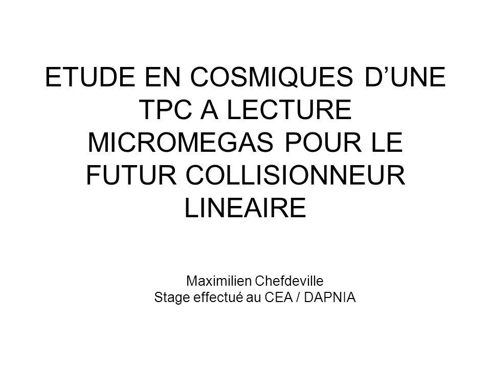 ETUDE EN COSMIQUES DUNE TPC A LECTURE MICROMEGAS POUR LE FUTUR COLLISIONNEUR LINEAIRE Maximilien Chefdeville Stage effectué au CEA / DAPNIA