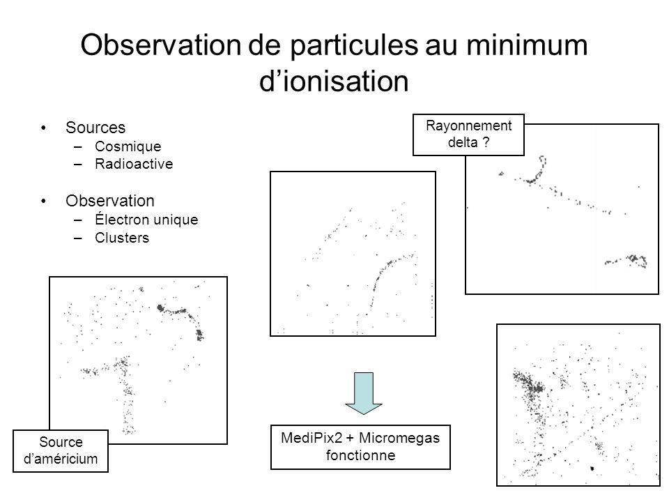 Observation de particules au minimum dionisation Sources –Cosmique –Radioactive Observation –Électron unique –Clusters Rayonnement delta ? Source damé