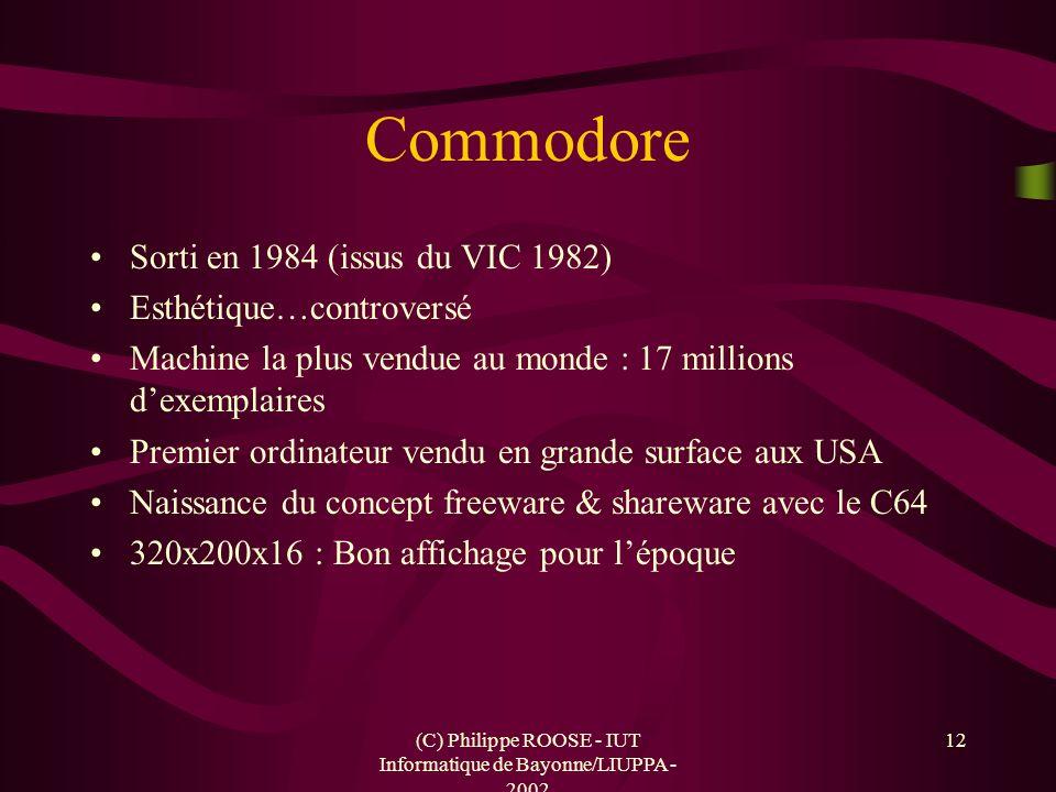 (C) Philippe ROOSE - IUT Informatique de Bayonne/LIUPPA - 2002 12 Commodore Sorti en 1984 (issus du VIC 1982) Esthétique…controversé Machine la plus v
