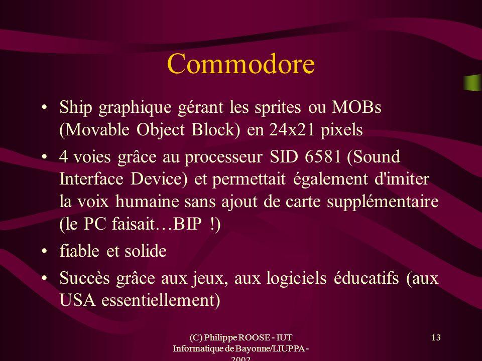 (C) Philippe ROOSE - IUT Informatique de Bayonne/LIUPPA - 2002 13 Commodore Ship graphique gérant les sprites ou MOBs (Movable Object Block) en 24x21