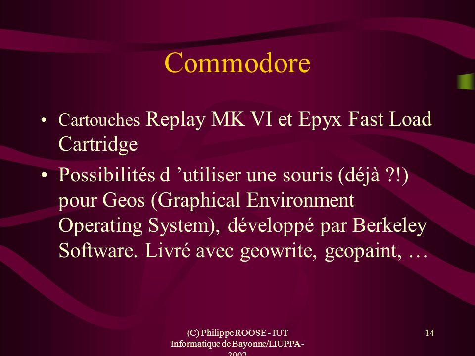 (C) Philippe ROOSE - IUT Informatique de Bayonne/LIUPPA - 2002 14 Commodore Cartouches Replay MK VI et Epyx Fast Load Cartridge Possibilités d utilise