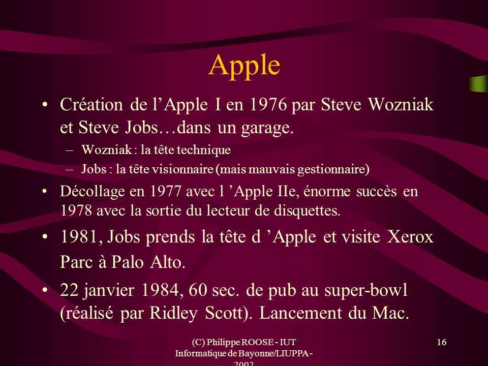 (C) Philippe ROOSE - IUT Informatique de Bayonne/LIUPPA - 2002 16 Apple Création de lApple I en 1976 par Steve Wozniak et Steve Jobs…dans un garage. –