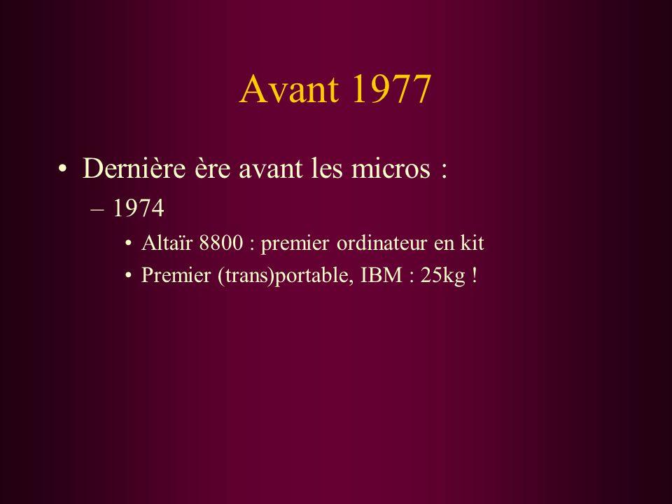 Avant 1977 Dernière ère avant les micros : –1974 Altaïr 8800 : premier ordinateur en kit Premier (trans)portable, IBM : 25kg !