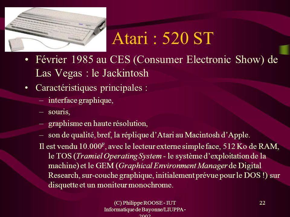 (C) Philippe ROOSE - IUT Informatique de Bayonne/LIUPPA - 2002 22 Atari : 520 ST Février 1985 au CES (Consumer Electronic Show) de Las Vegas : le Jack