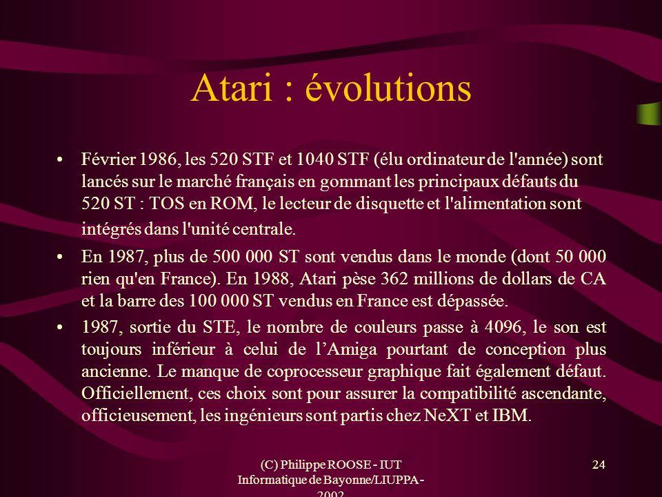(C) Philippe ROOSE - IUT Informatique de Bayonne/LIUPPA - 2002 24 Atari : évolutions Février 1986, les 520 STF et 1040 STF (élu ordinateur de l'année)