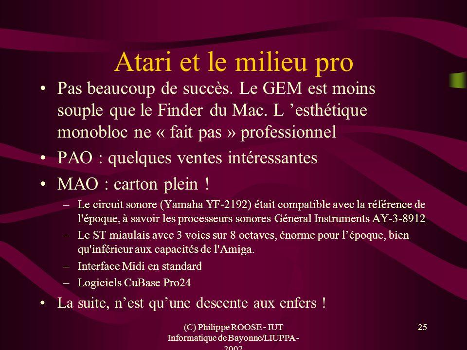 (C) Philippe ROOSE - IUT Informatique de Bayonne/LIUPPA - 2002 25 Atari et le milieu pro Pas beaucoup de succès. Le GEM est moins souple que le Finder