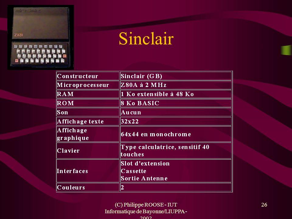 (C) Philippe ROOSE - IUT Informatique de Bayonne/LIUPPA - 2002 26 Sinclair