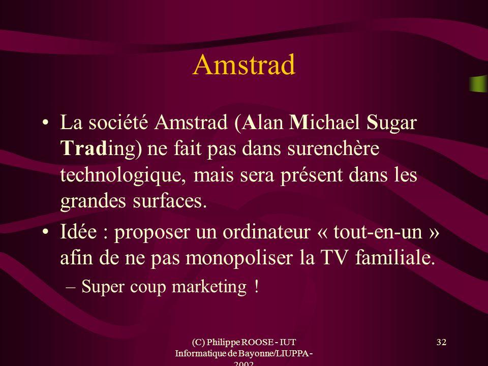 (C) Philippe ROOSE - IUT Informatique de Bayonne/LIUPPA - 2002 32 Amstrad La société Amstrad (Alan Michael Sugar Trading) ne fait pas dans surenchère