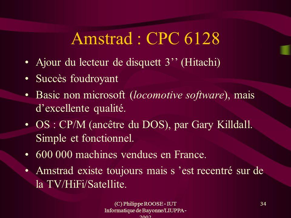 (C) Philippe ROOSE - IUT Informatique de Bayonne/LIUPPA - 2002 34 Amstrad : CPC 6128 Ajour du lecteur de disquett 3 (Hitachi) Succès foudroyant Basic