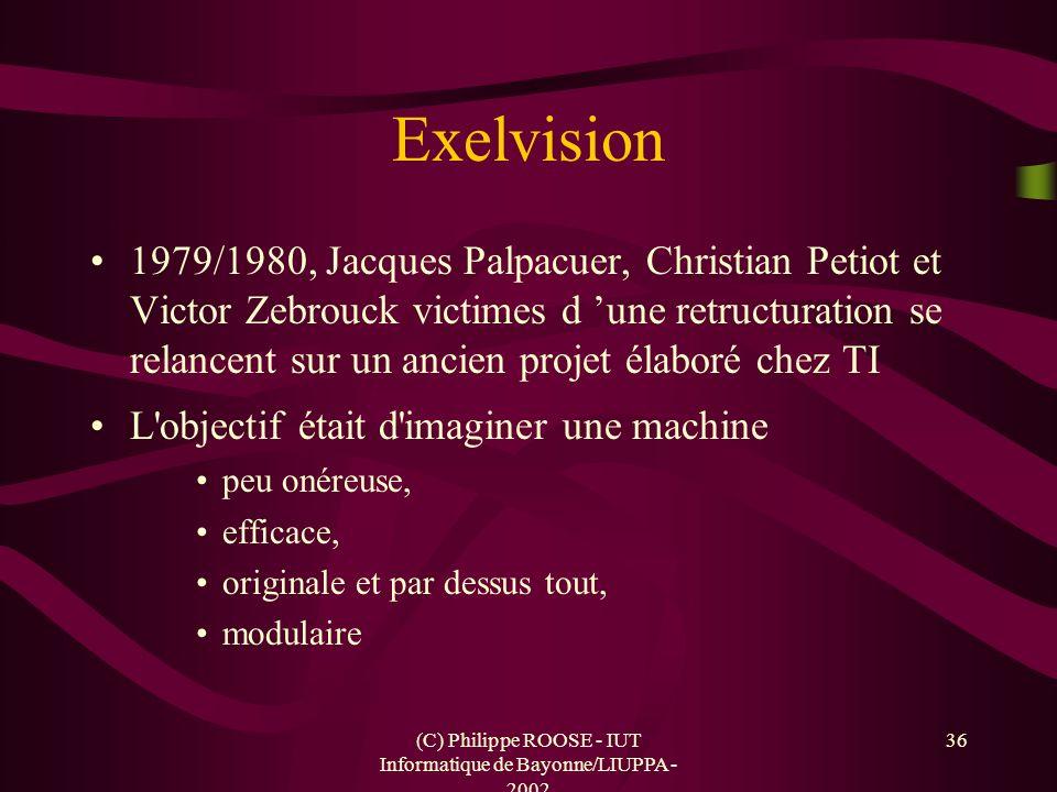(C) Philippe ROOSE - IUT Informatique de Bayonne/LIUPPA - 2002 36 Exelvision 1979/1980, Jacques Palpacuer, Christian Petiot et Victor Zebrouck victime