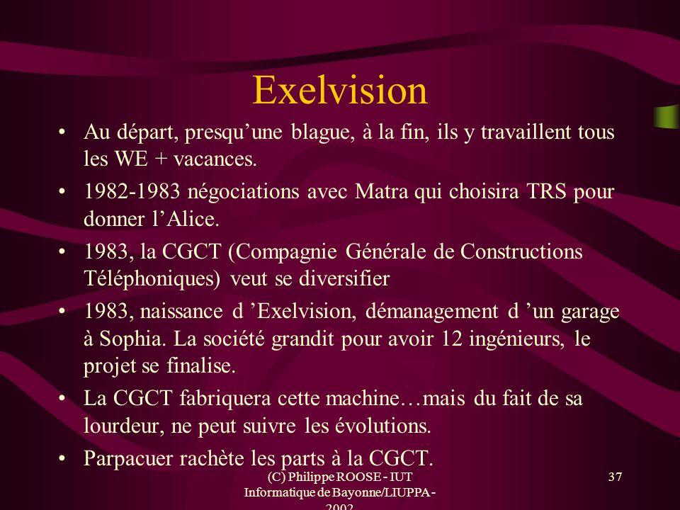 (C) Philippe ROOSE - IUT Informatique de Bayonne/LIUPPA - 2002 37 Exelvision Au départ, presquune blague, à la fin, ils y travaillent tous les WE + va