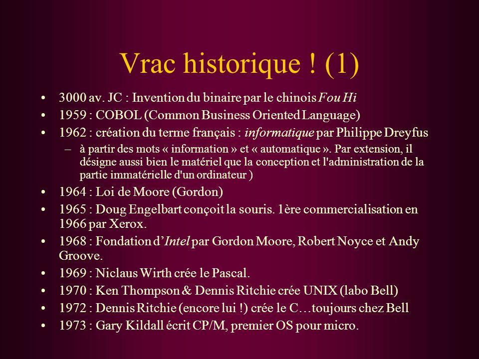 Vrac historique ! (1) 3000 av. JC : Invention du binaire par le chinois Fou Hi 1959 : COBOL (Common Business Oriented Language) 1962 : création du ter