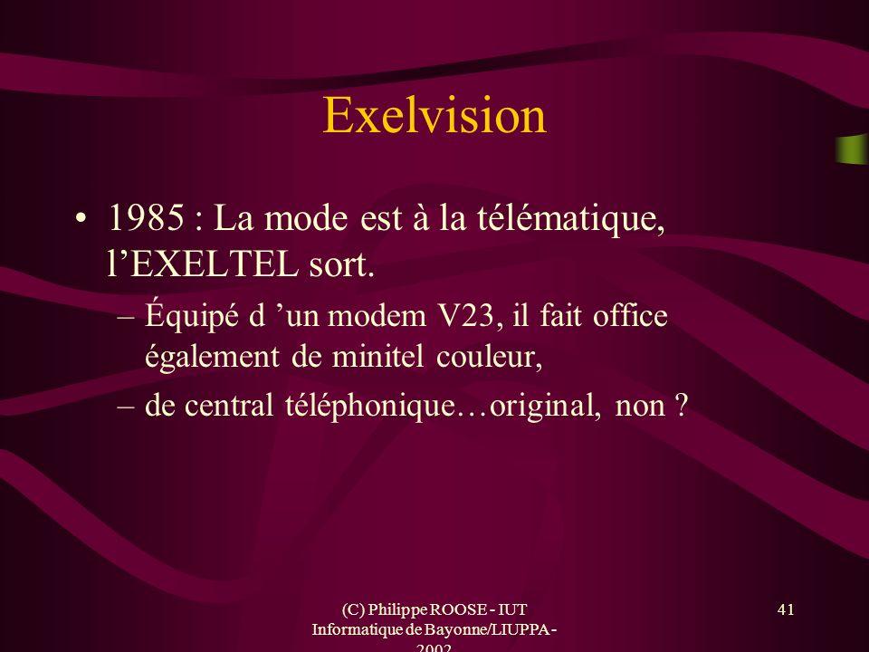 (C) Philippe ROOSE - IUT Informatique de Bayonne/LIUPPA - 2002 41 Exelvision 1985 : La mode est à la télématique, lEXELTEL sort. –Équipé d un modem V2