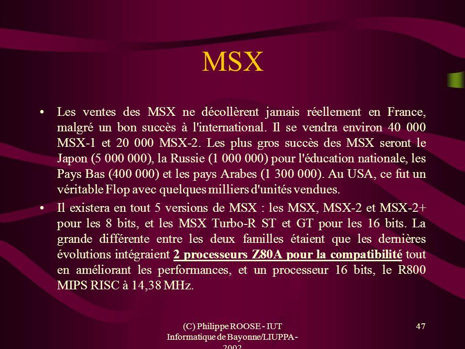 (C) Philippe ROOSE - IUT Informatique de Bayonne/LIUPPA - 2002 47 MSX Les ventes des MSX ne décollèrent jamais réellement en France, malgré un bon suc