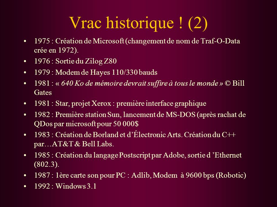Tour dhorizon des machines Micros Français Micros Anglais Micros Américains