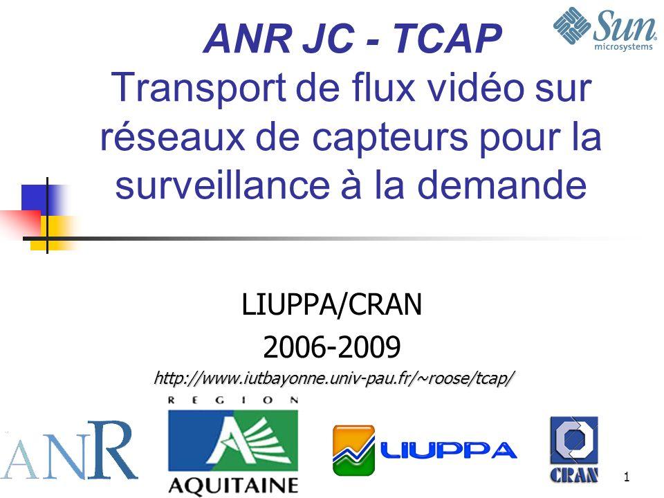 1 ANR JC - TCAP Transport de flux vidéo sur réseaux de capteurs pour la surveillance à la demande LIUPPA/CRAN 2006-2009http://www.iutbayonne.univ-pau.