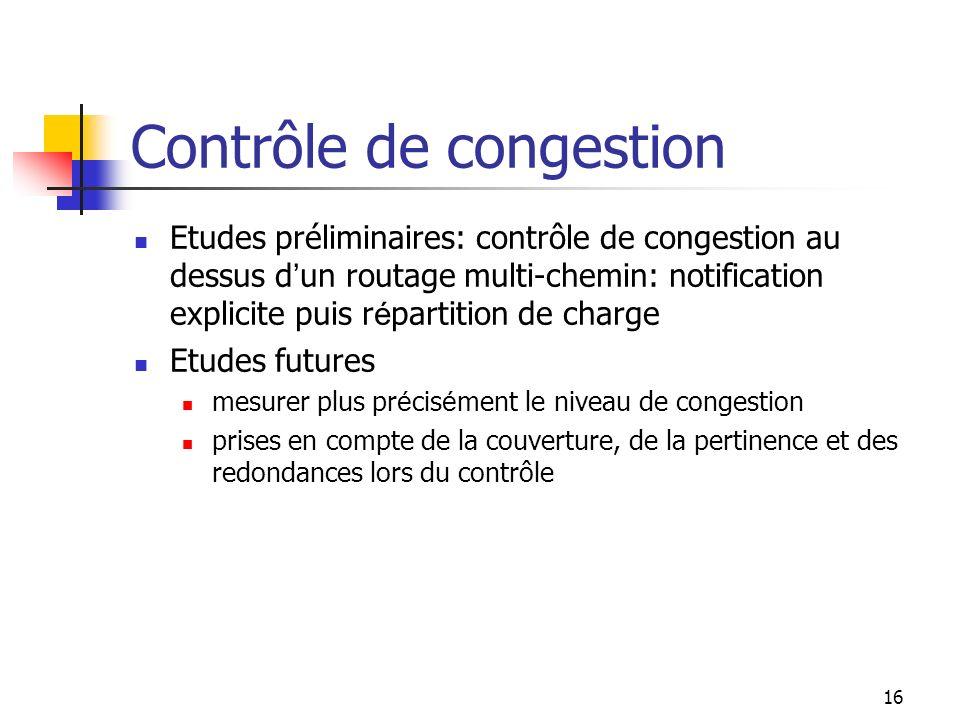 16 Contrôle de congestion Etudes préliminaires: contrôle de congestion au dessus d un routage multi-chemin: notification explicite puis r é partition