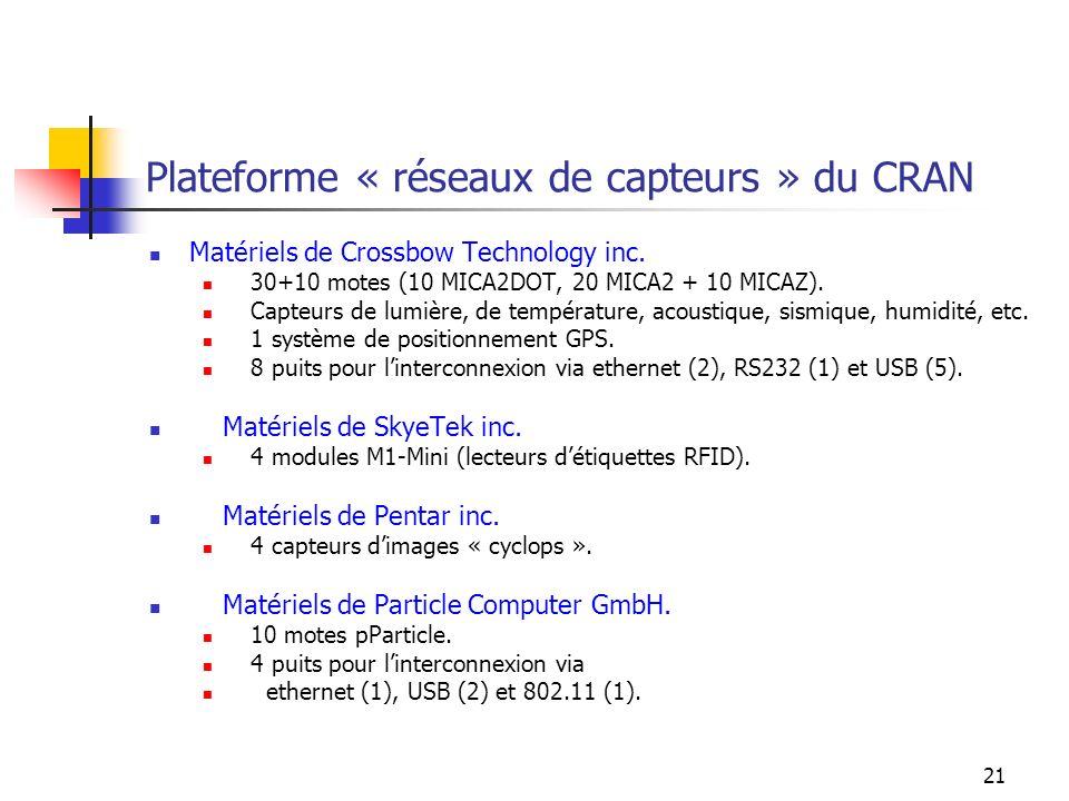 21 Plateforme « réseaux de capteurs » du CRAN Matériels de Crossbow Technology inc. 30+10 motes (10 MICA2DOT, 20 MICA2 + 10 MICAZ). Capteurs de lumièr