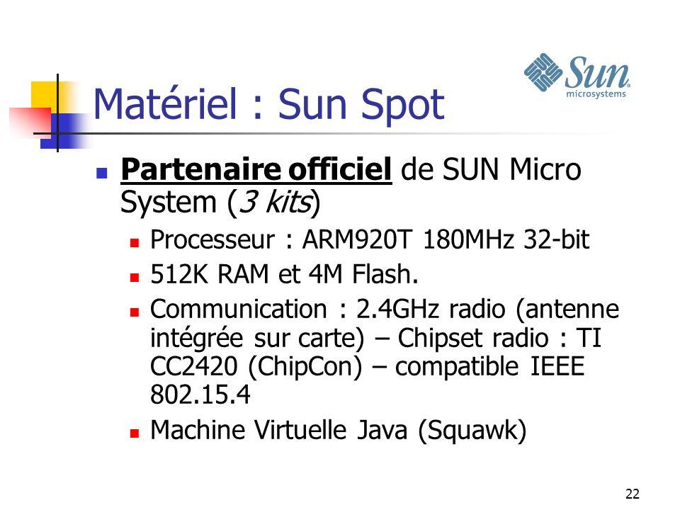 22 Matériel : Sun Spot Partenaire officiel de SUN Micro System (3 kits) Processeur : ARM920T 180MHz 32-bit 512K RAM et 4M Flash. Communication : 2.4GH