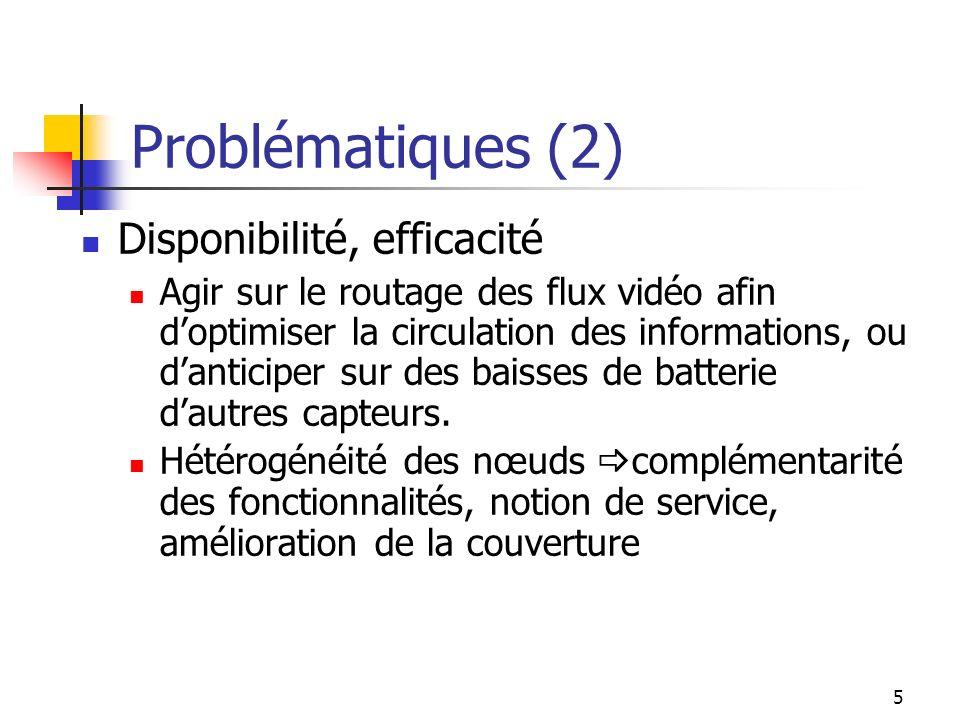 5 Problématiques (2) Disponibilité, efficacité Agir sur le routage des flux vidéo afin doptimiser la circulation des informations, ou danticiper sur d