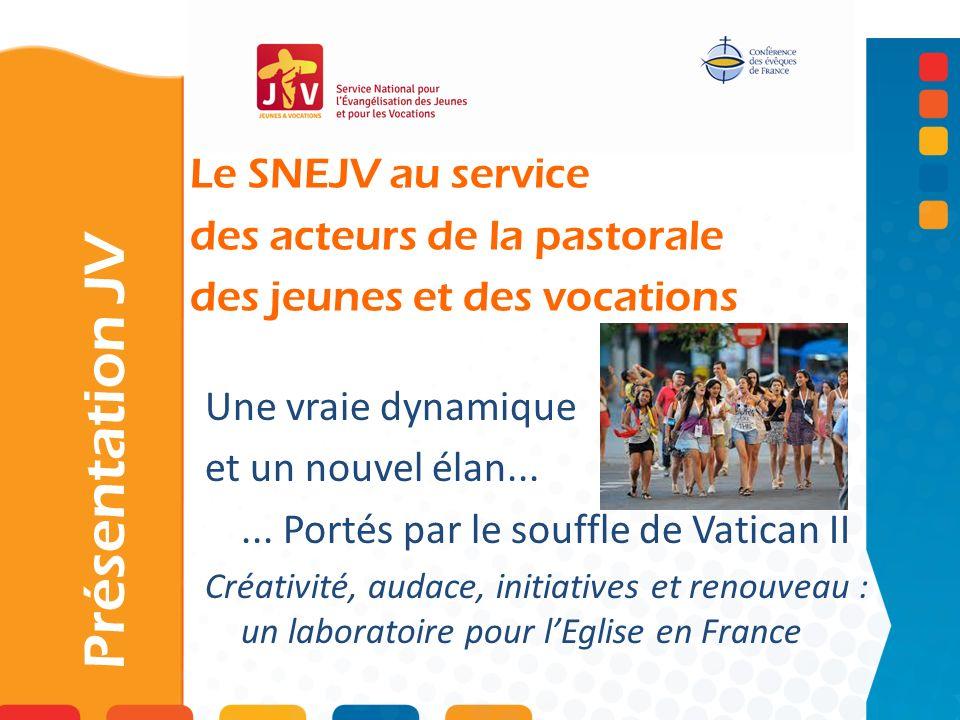 Le SNEJV au service des acteurs de la pastorale des jeunes et des vocations Présentation JV Une vraie dynamique et un nouvel élan...... Portés par le