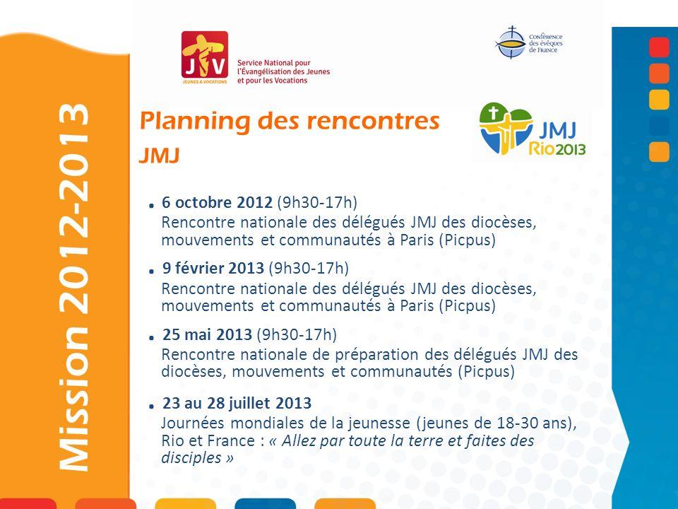 6 octobre 2012 (9h30-17h) Rencontre nationale des délégués JMJ des diocèses, mouvements et communautés à Paris (Picpus).