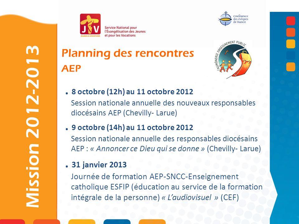 . 8 octobre (12h) au 11 octobre 2012 Session nationale annuelle des nouveaux responsables diocésains AEP (Chevilly- Larue). 9 octobre (14h) au 11 octo