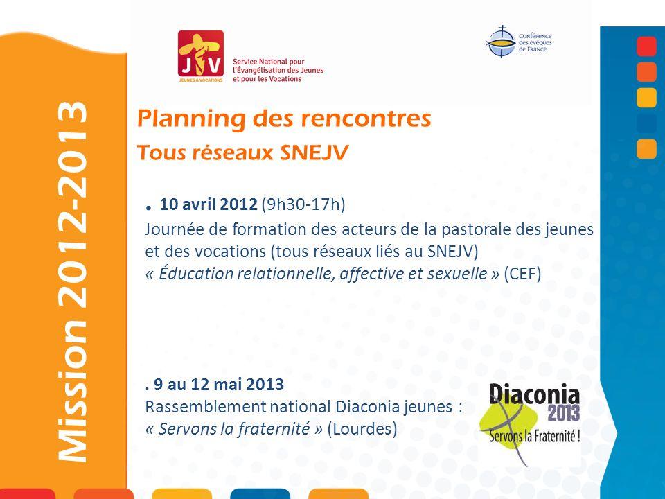 Planning des rencontres Tous réseaux SNEJV. 10 avril 2012 (9h30-17h) Journée de formation des acteurs de la pastorale des jeunes et des vocations (tou