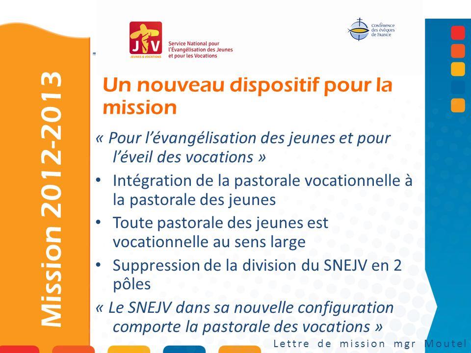 Un nouveau dispositif pour la mission Mission 2012-2013 Lettre de mission mgr Moutel « Pour lévangélisation des jeunes et pour léveil des vocations »