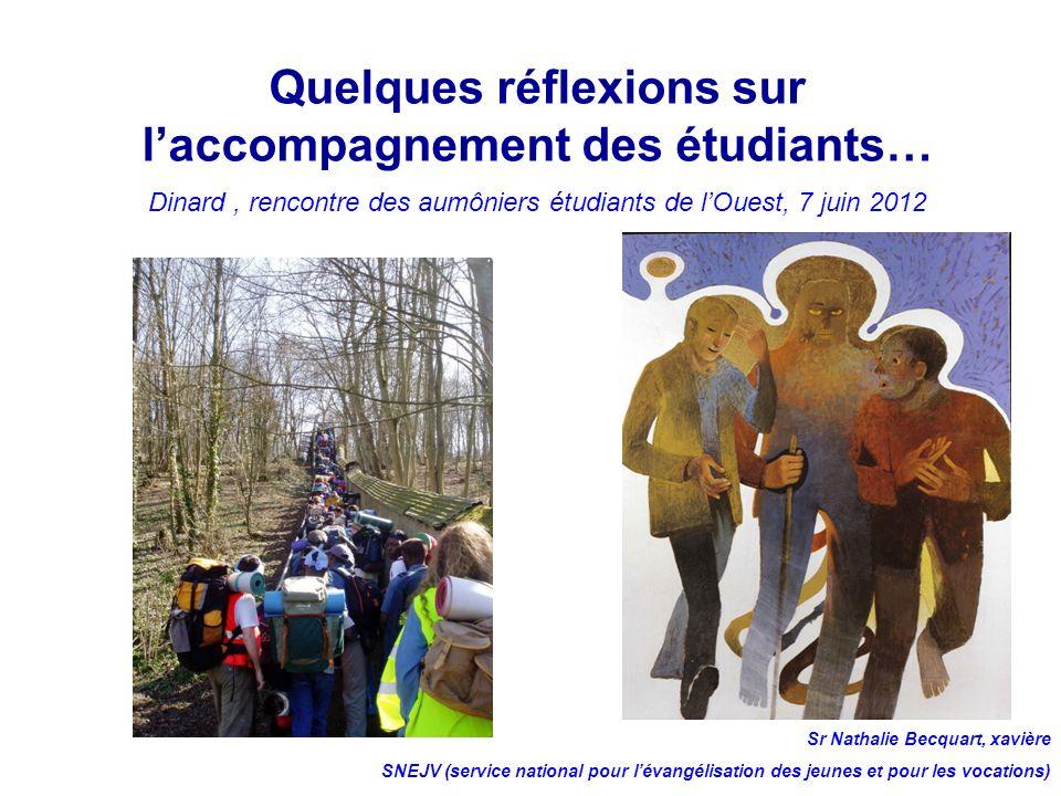 Quelques réflexions sur laccompagnement des étudiants… Dinard, rencontre des aumôniers étudiants de lOuest, 7 juin 2012 Sr Nathalie Becquart, xavière