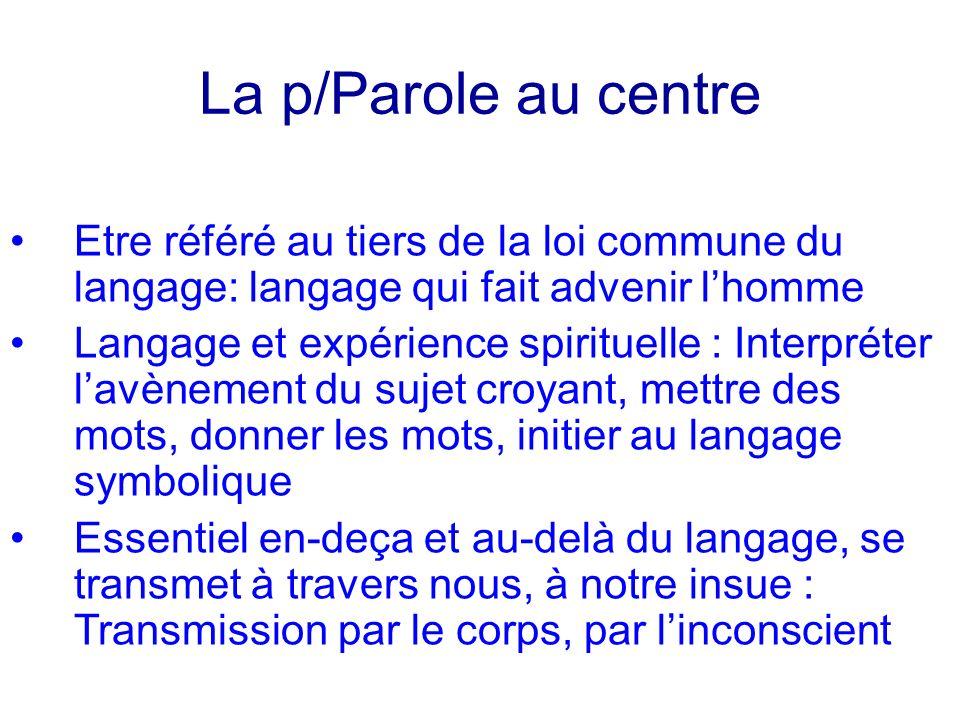 La p/Parole au centre Etre référé au tiers de la loi commune du langage: langage qui fait advenir lhomme Langage et expérience spirituelle : Interprét