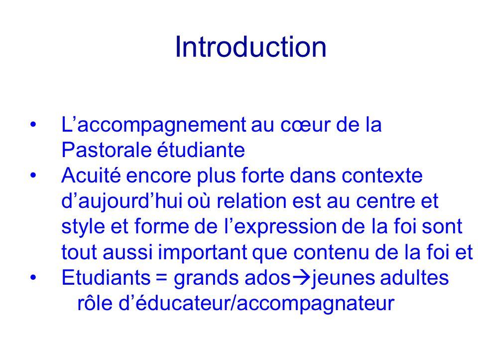 Introduction Laccompagnement au cœur de la Pastorale étudiante Acuité encore plus forte dans contexte daujourdhui où relation est au centre et style e