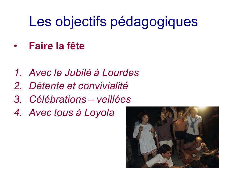 Les objectifs pédagogiques Faire la fête 1.Avec le Jubilé à Lourdes 2.Détente et convivialité 3.Célébrations – veillées 4.Avec tous à Loyola