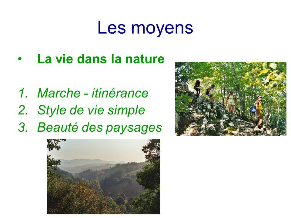 Les moyens La vie dans la nature 1.Marche - itinérance 2.Style de vie simple 3.Beauté des paysages