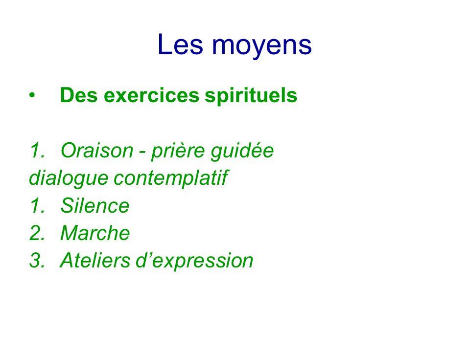 Les moyens Des exercices spirituels 1.Oraison - prière guidée dialogue contemplatif 1.Silence 2.Marche 3.Ateliers dexpression