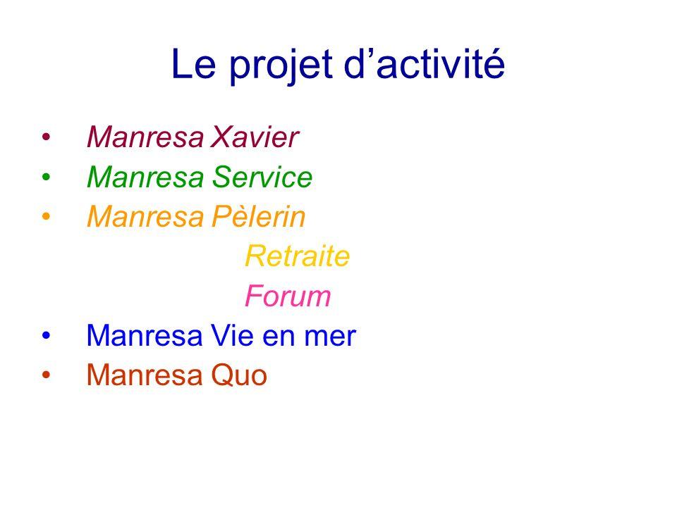 Le projet dactivité Manresa Xavier Manresa Service Manresa Pèlerin Retraite Forum Manresa Vie en mer Manresa Quo