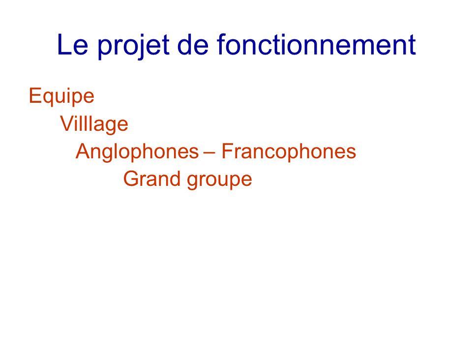 Le projet de fonctionnement Equipe Villlage Anglophones – Francophones Grand groupe